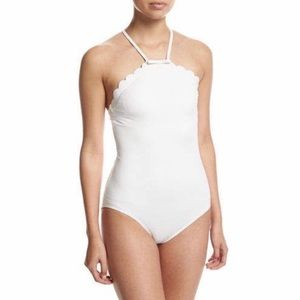 Kate Spade NY White High Neck Swim One Piece NWT